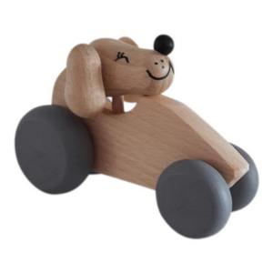 1 Speelgoedwinkel Daantje houten auto naturel met hond