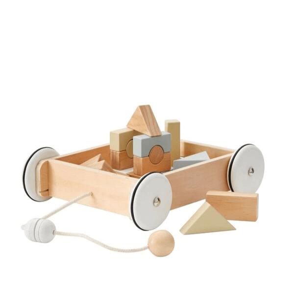 1000195 Speelgoedwinkel Daantje Kids Concept houten trekwagentje met blokken