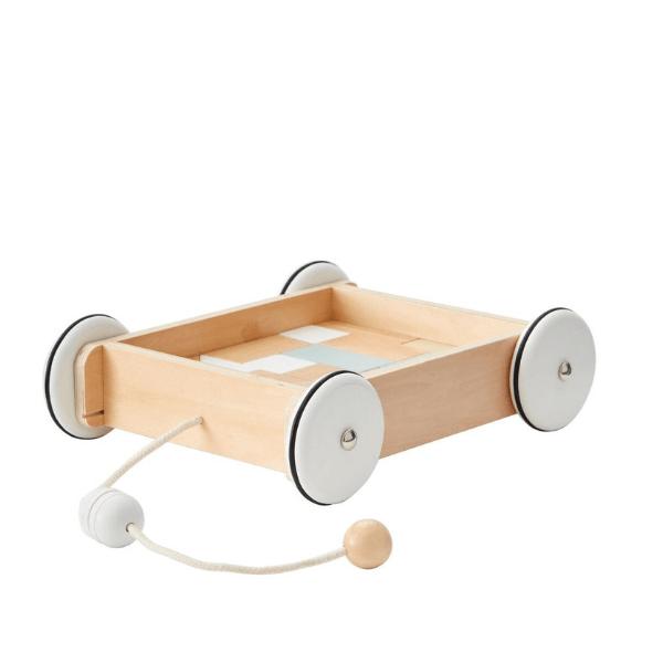1000195 Speelgoedwinkel Daantje Kids Concept wagentje met houten blokken