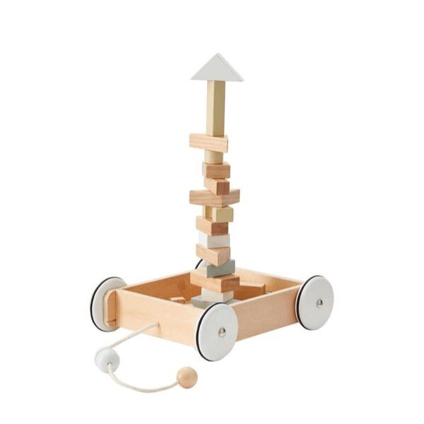 1000195 Speelgoedwinkel Daantje houten blokken in wagentje Kids Concept