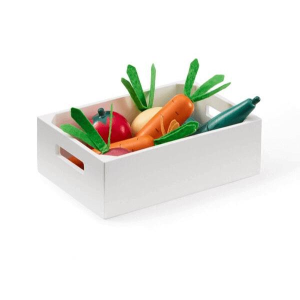 1000276 Speelgoedwinkel daantje Kids Concept groentekistje met houten groenten