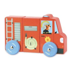 1513 Speelgoedwinkel Daantje Vilac houten brandweer magnetische vrachtwagen