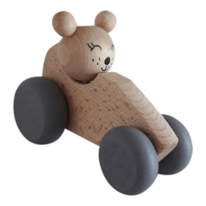 2 Speelgoedwinkel Daantje houten auto met beer naturel