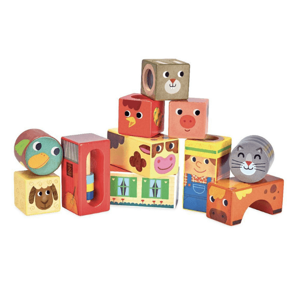 2102 Speelgoedwinkel Daantje houten muziekblokken boerderij Vilac