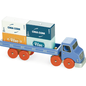 2358 Speelgoedwinkel Daantje Vilacity houten vrachtwagen met containers