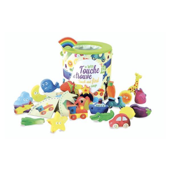 2413 Speelgoedwinkel Daantje houten speelgoed voel en vind spel Vilac