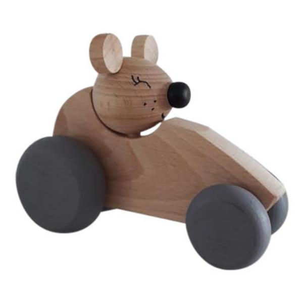 3 Speelgoedwinkel Daantje houten auto met muis naturel