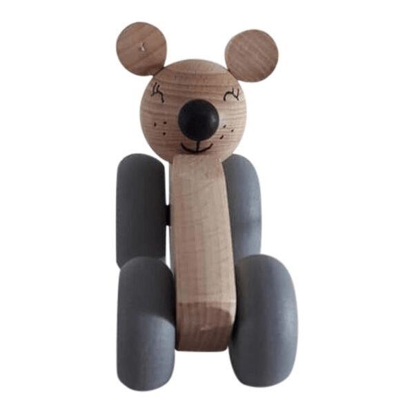 3 Speelgoedwinkel Daantje houten auto naturel met muis