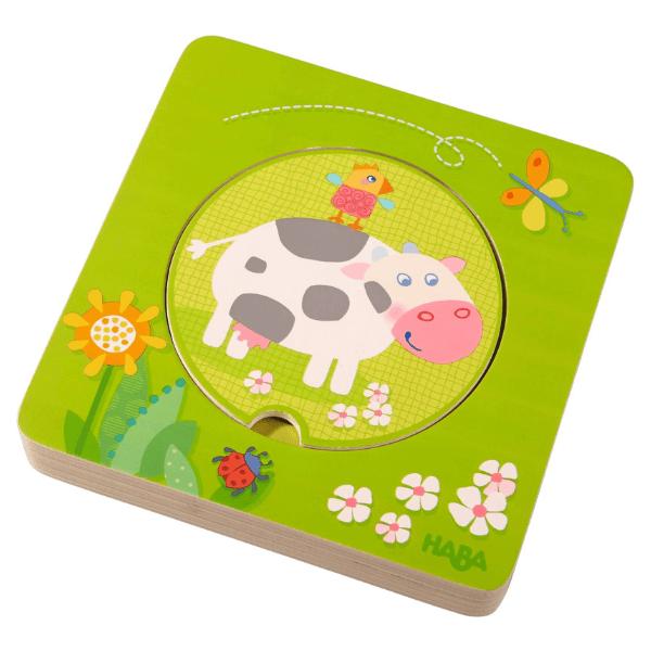 301647 Speelgoedwinkel Daantje haba speelgoed houten puzzel boerderijdieren