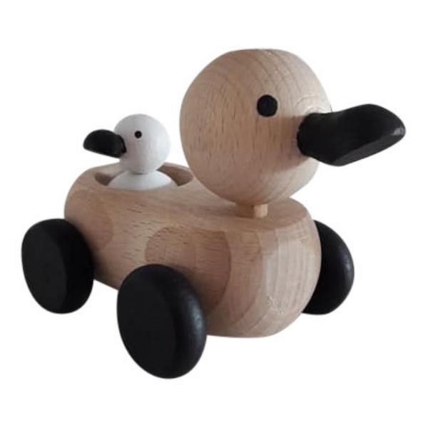 4 Speelgoedwinkel Daantje houten eend met klein eendje monochrome