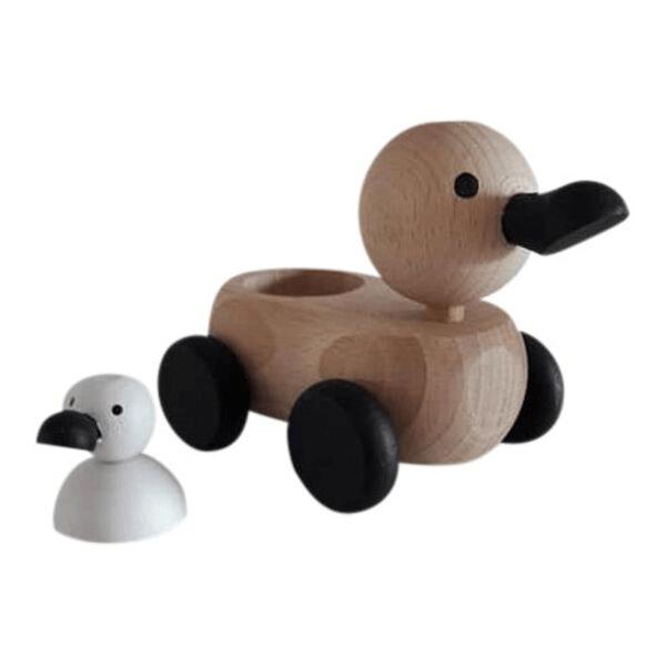 4 Speelgoedwinkel Daantje houten eend met klein eentje monochrome