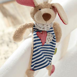 40503 Speelgoedwinkel Daantje Sigikid knuffeldoek hond blauw gestreept