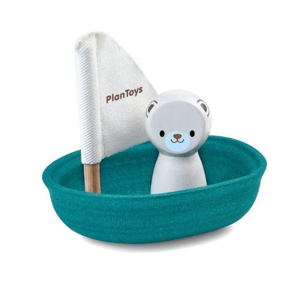 5712 Speelgoedwinkel Daantje Plan Toys houten bootje met ijsbeer voor in bad