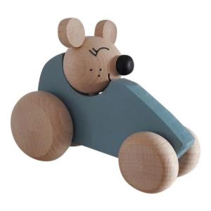 7 Speelgoedwinkel Daantje houten auto blauw met muis