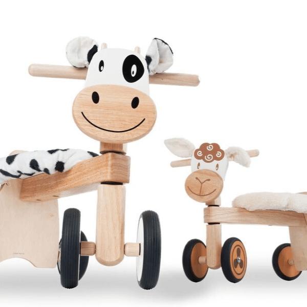 IM87520 Speelgoedwinkel Daantje houten loopfiets koe en schaap