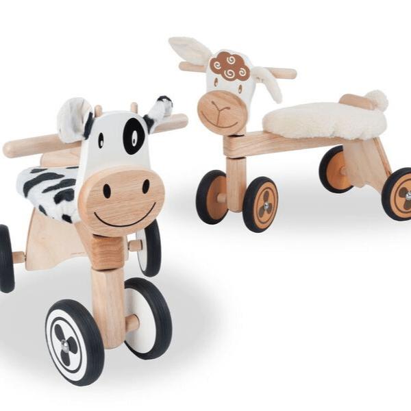 IM87520 Speelgoedwinkel Daantje houten loopfiets schaap en koe