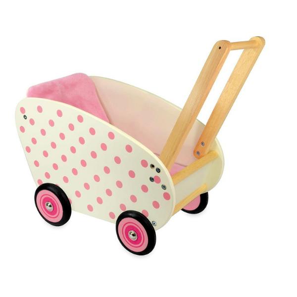 IM98170 Speelgoedwinkel Daantje houten poppenwagen wit met roze stippen