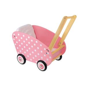 IM98171 Speelgoedwinkel Daantje houten poppenwagen roze met witte stippen
