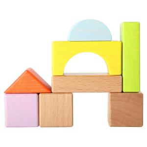 Speelgoedwinkel Daantje gekleurede houten blokken in ton