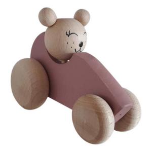 Speelgoedwinkel Daantje houten auto roze met beer