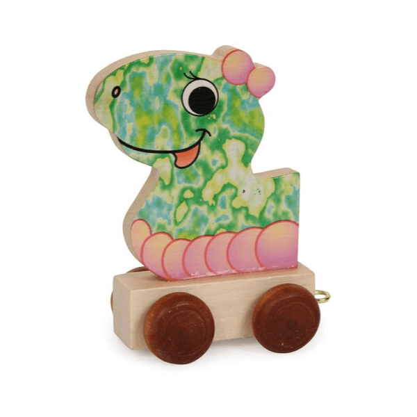 Speelgoedwinkel Daantje houten naamtrein draak voorkant