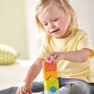 gekleurd stapelspel regenboog houten blokken