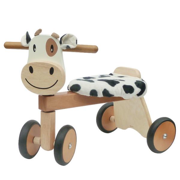 IM2 Speelgoedwinkel Daantje houten loopfiets koe bruin oog