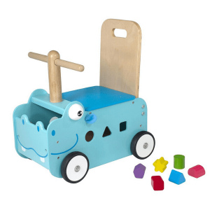 IM88000 Speelgoedwinkel Daantje houten loopwagen nijlpaard blauw